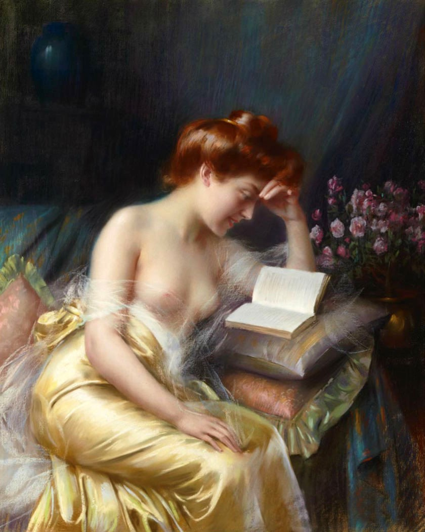 -Beautiful-Oil-painting-nude-young-girl-reading-book-on-sofa-with-spring-flowers